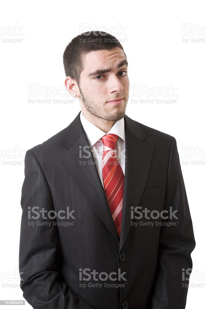 young businessman eyebrowse up stock photo