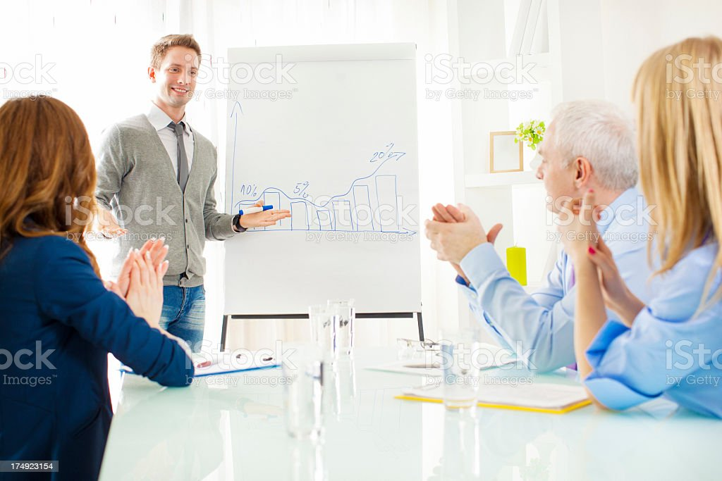 Young Businessman Giving Presentation at work. royalty-free stock photo