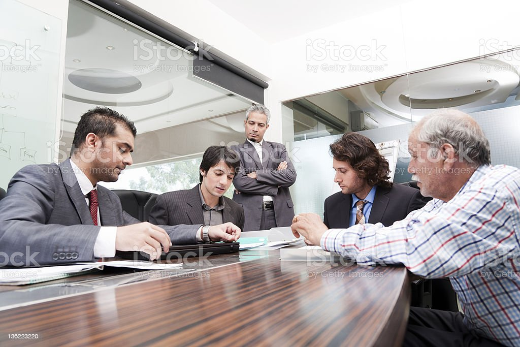 young businessman giving presentation stock photo