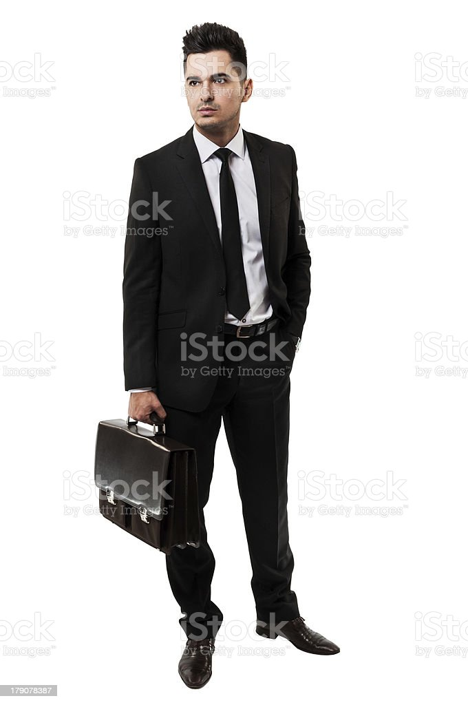Young businessman holding a briefcase stock photo