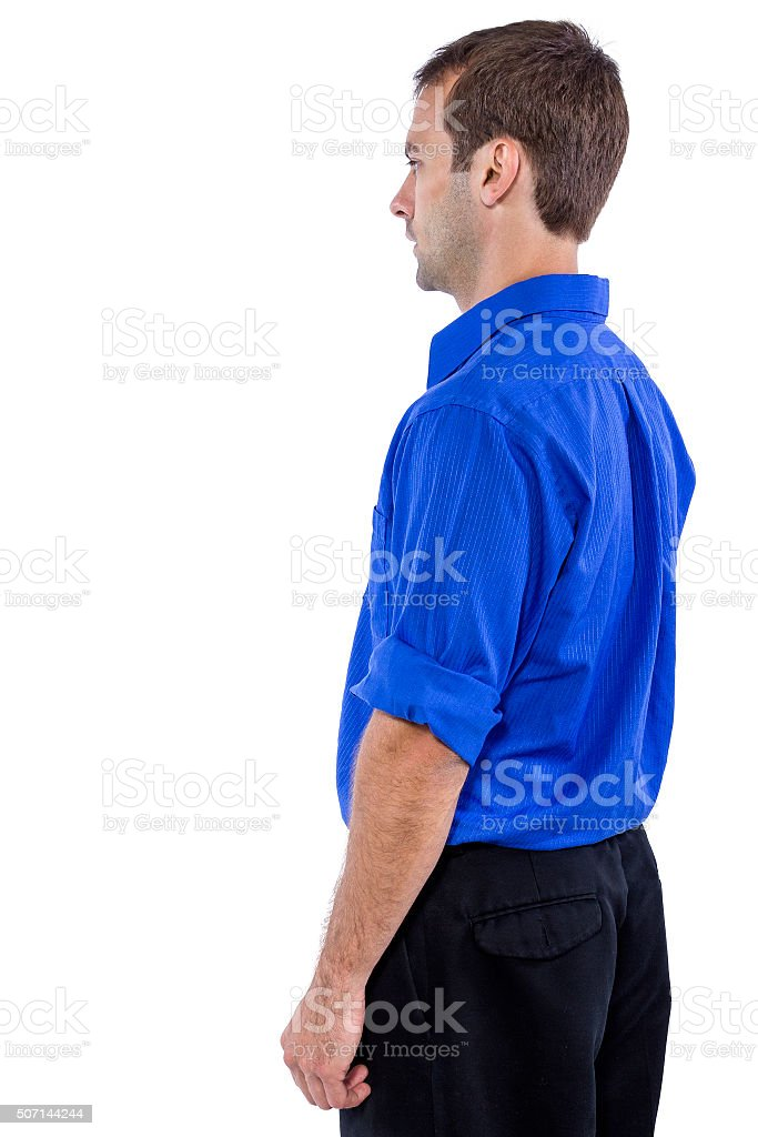 Young businessman in blue business casual attire stock photo