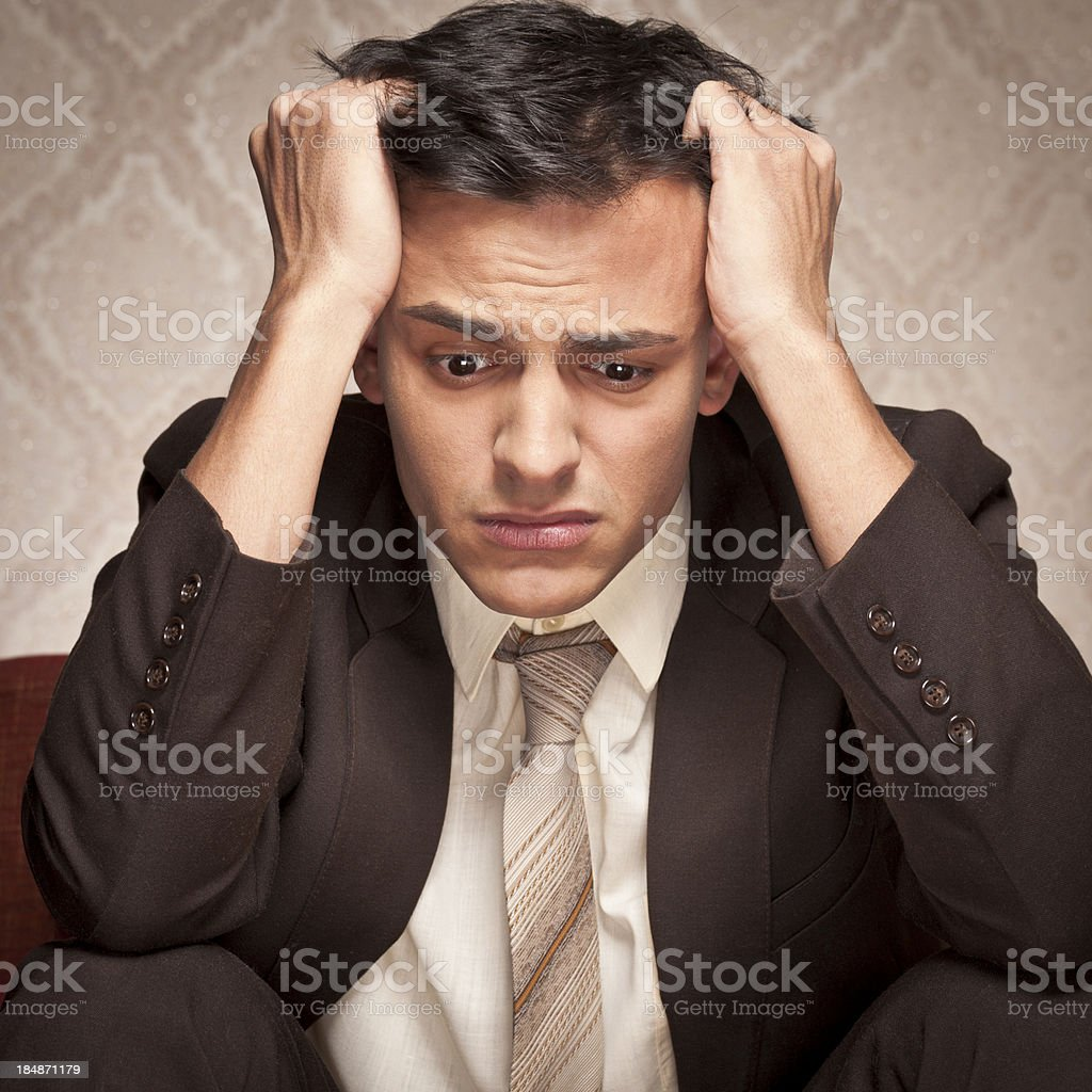 Young businessman in depression royalty-free stock photo