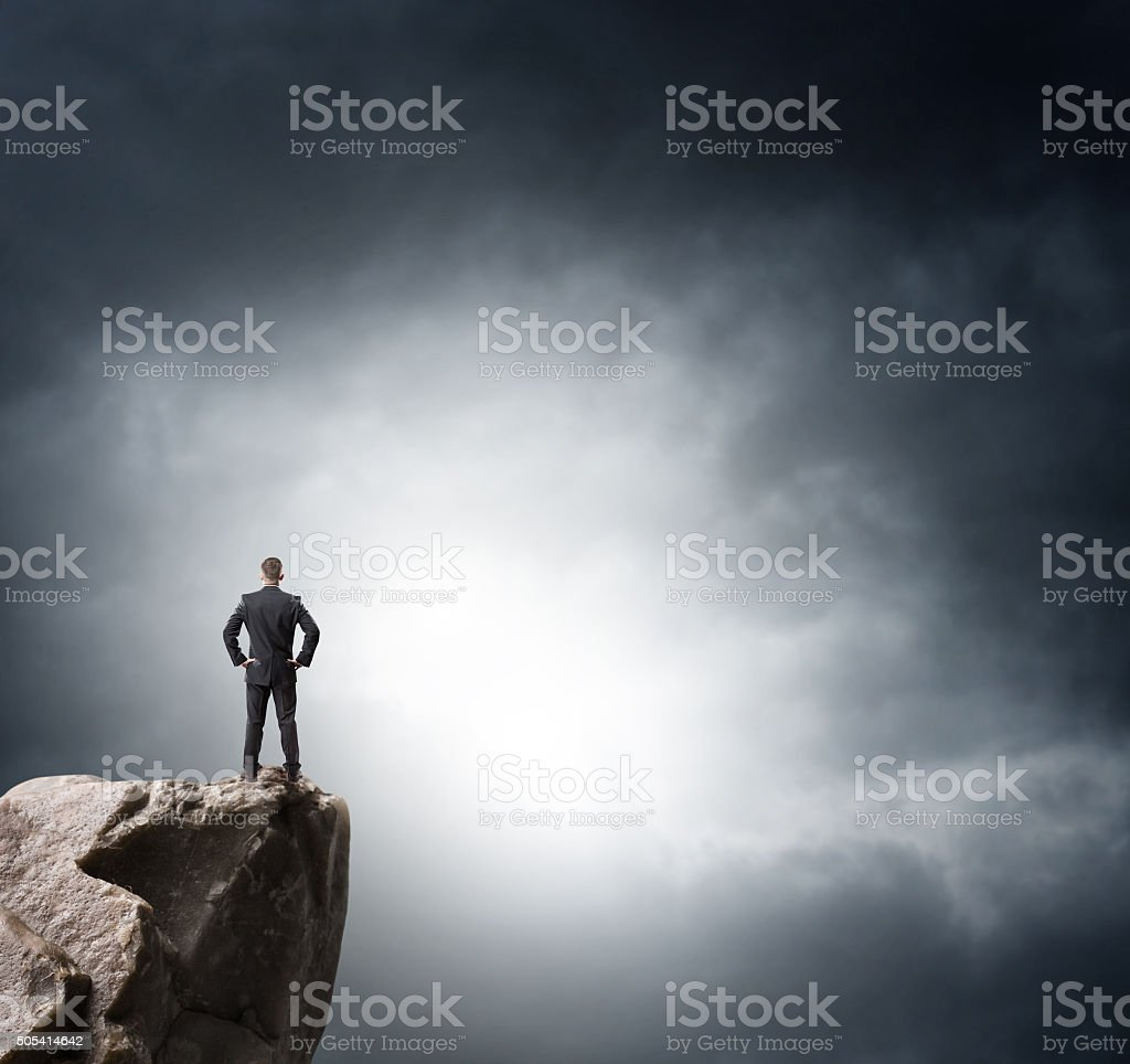 Young businessman looking to the future stock photo
