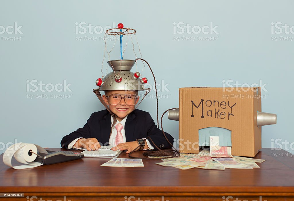 Young Businessman Makes Money with Homemade Money Machine stock photo