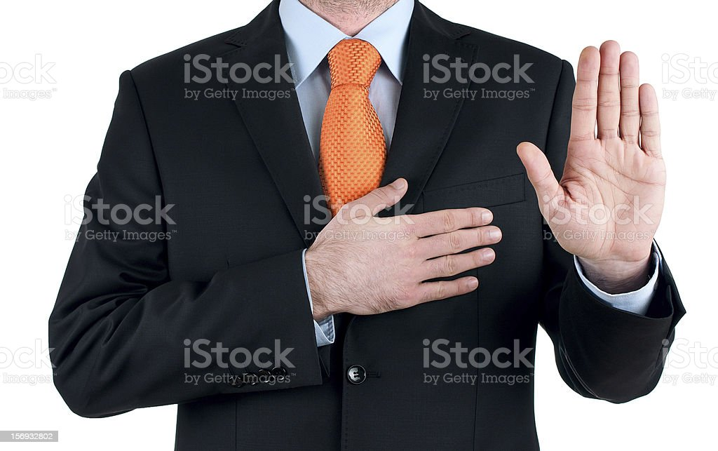 young businessman oath Truth on white background stock photo