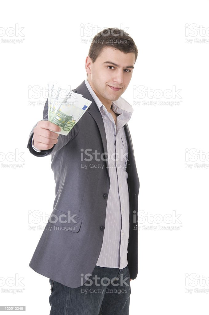 Young Businessman Offering Money stock photo