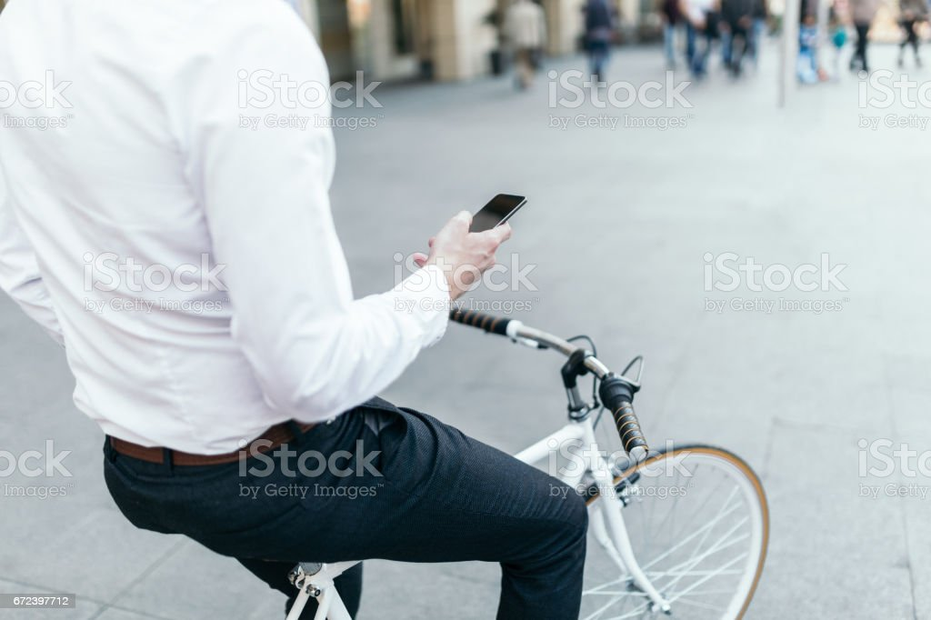 Young businessman on the go stock photo