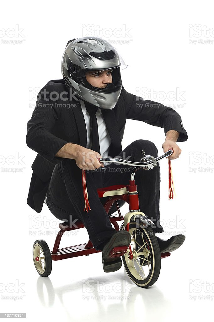 Young Businessman on Tricycle stock photo