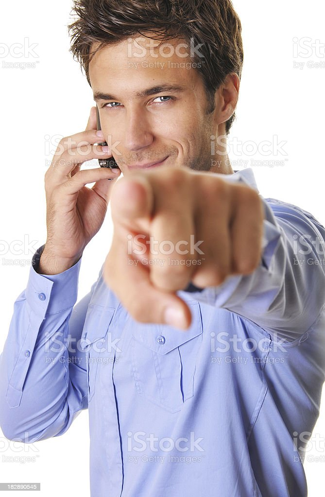 young businessman pointing at camera royalty-free stock photo