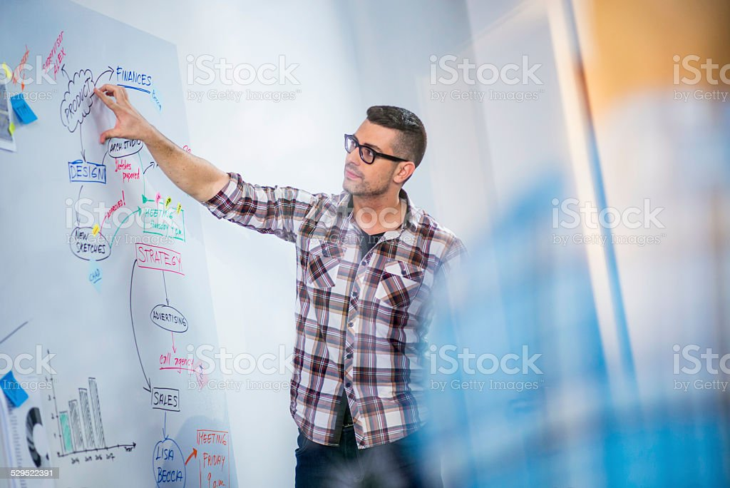 Young Businessman Presenting His Ideas to Colleagues stock photo