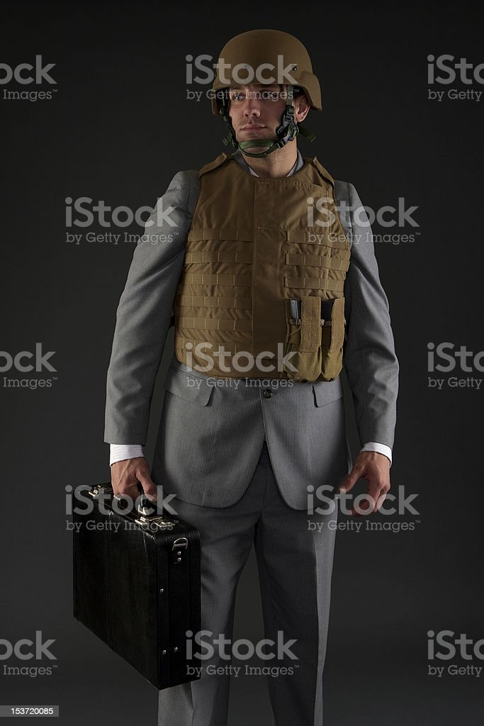 Young businessman ready for combat stock photo