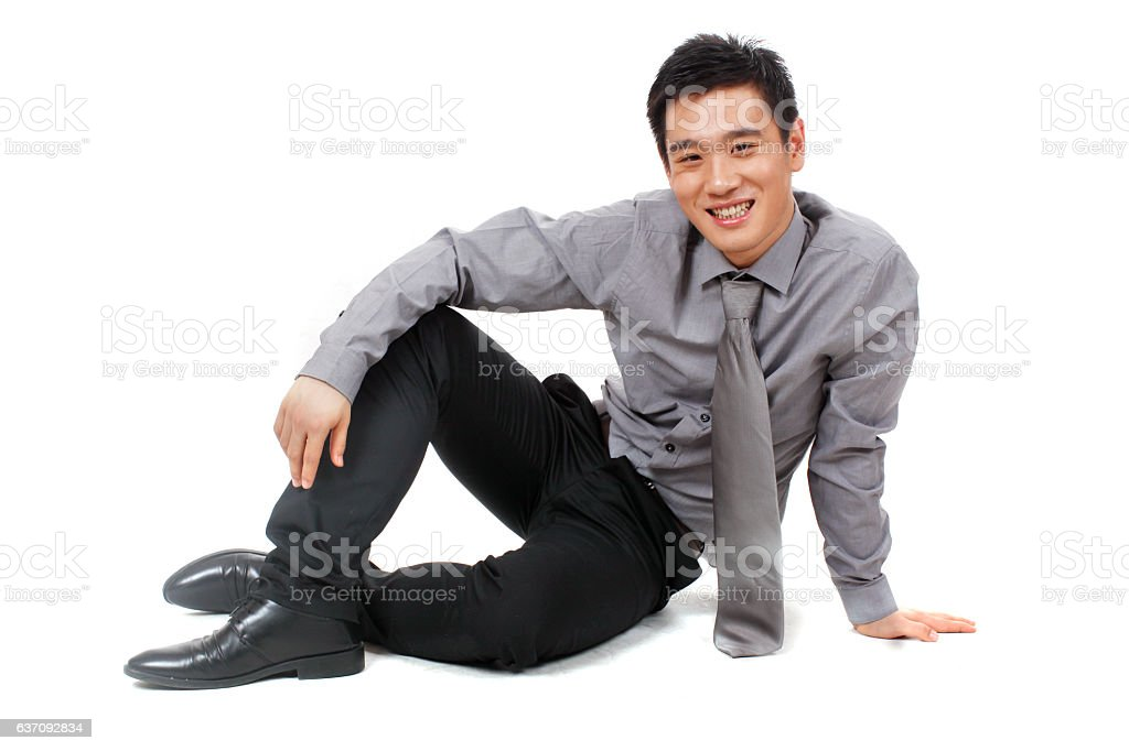 Young businessman relaxed at work stock photo