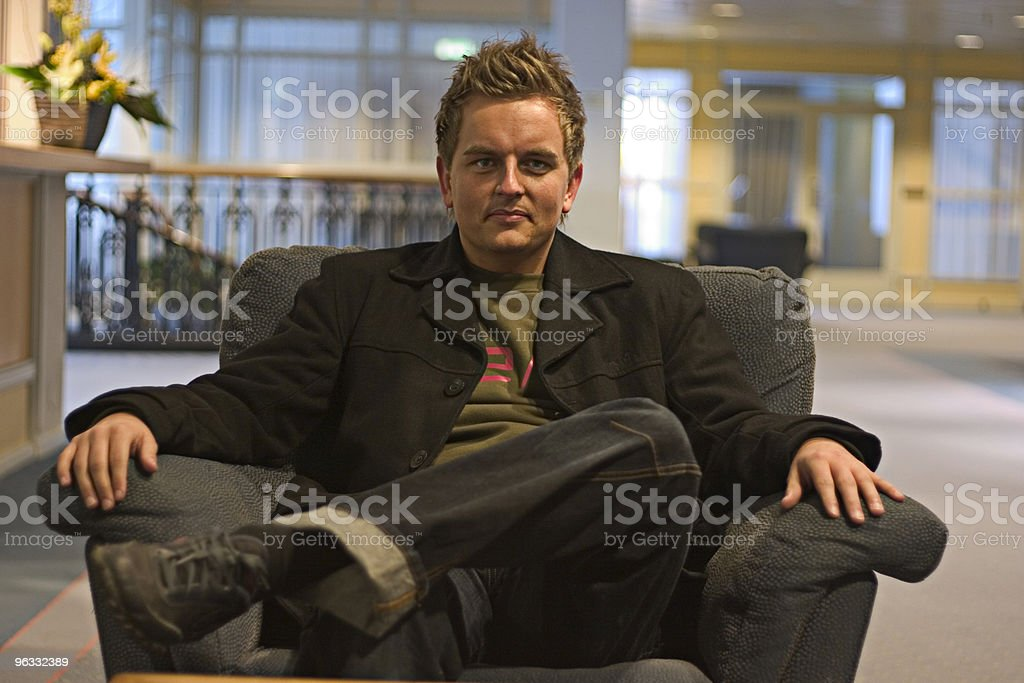 Young businessman, satisfied stock photo
