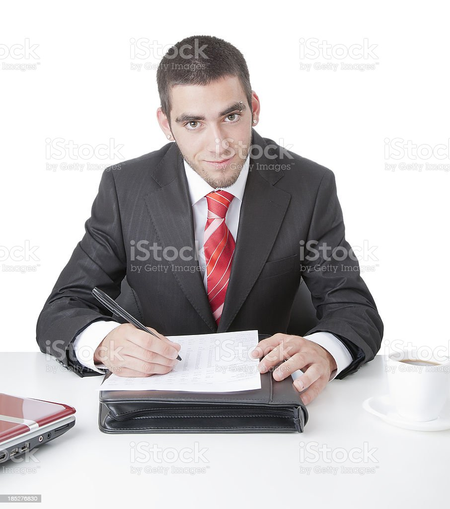 Young businessman smiling royalty-free stock photo