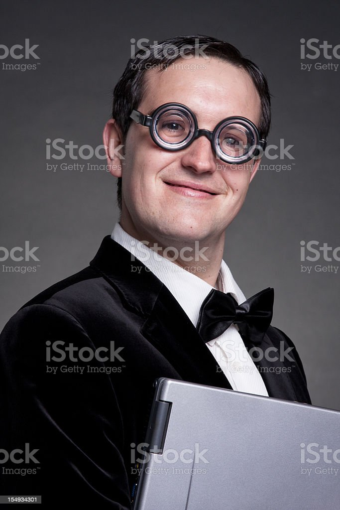 Young businessman student with funny retro glasses royalty-free stock photo