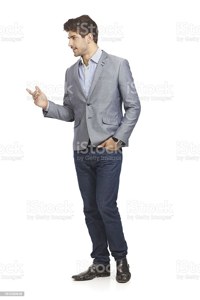 Young businessman talking to someone stock photo