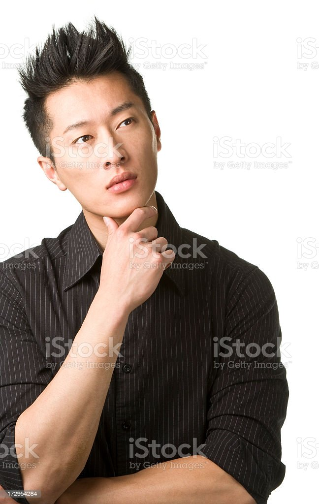 young businessman thinking stock photo