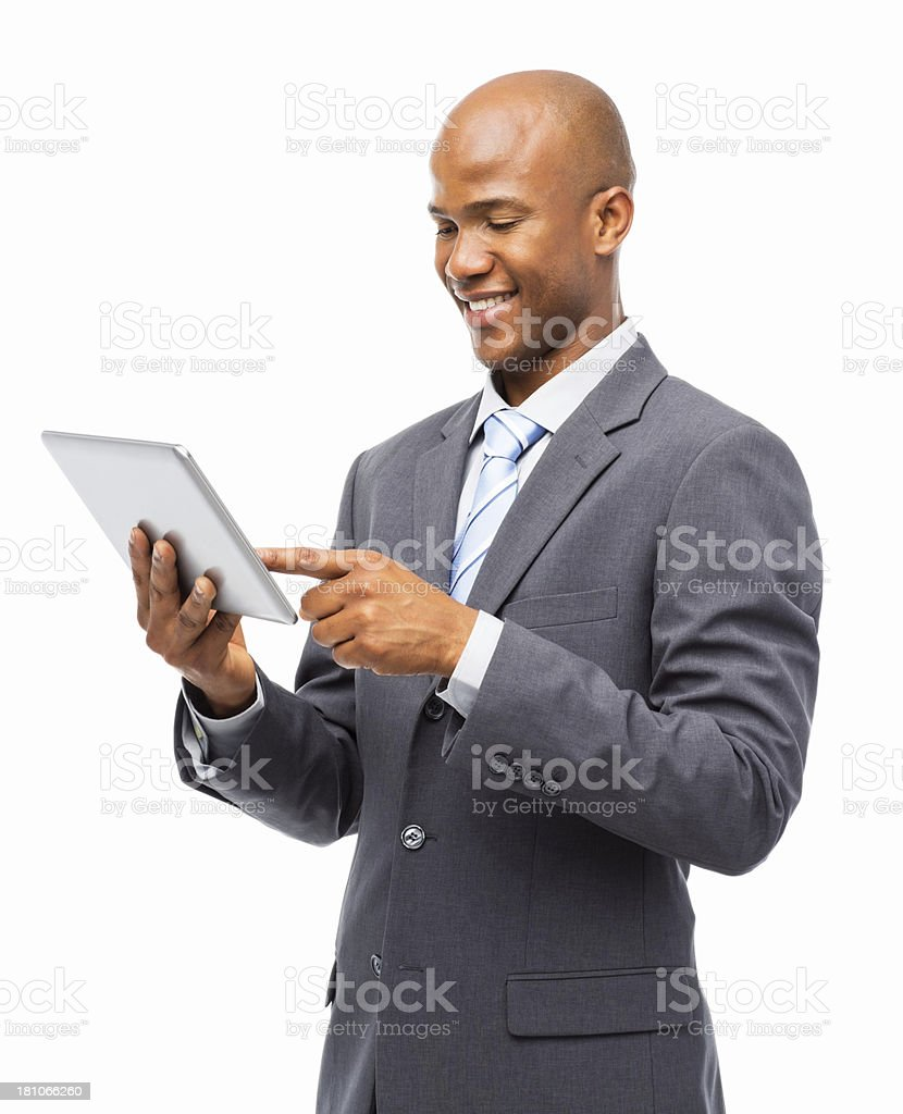 Young Businessman Using Digital Tablet - Isolated royalty-free stock photo