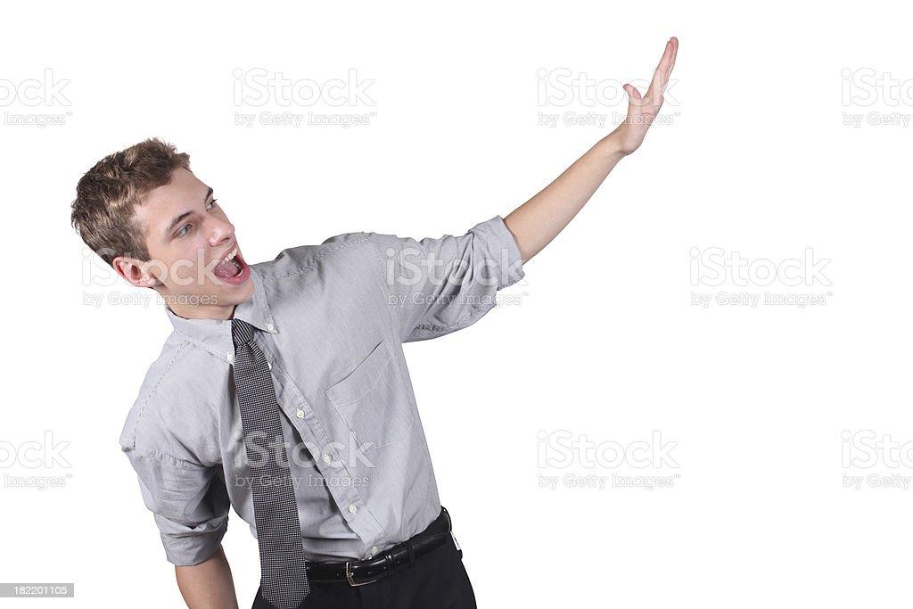 Young businessman waving hi royalty-free stock photo