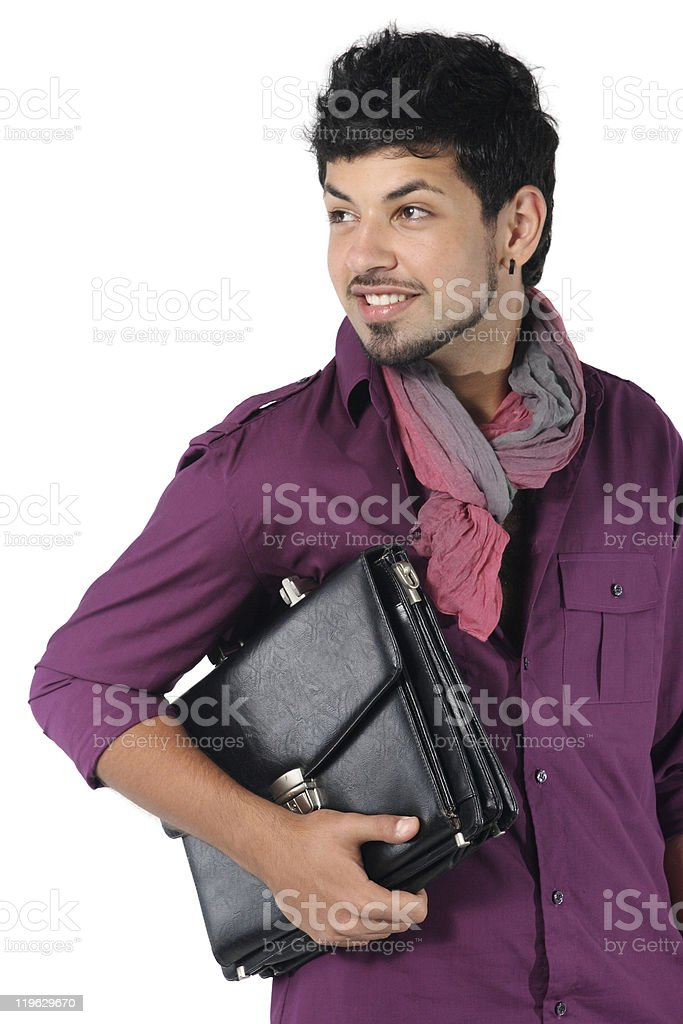 young businessman with a briefcase stock photo