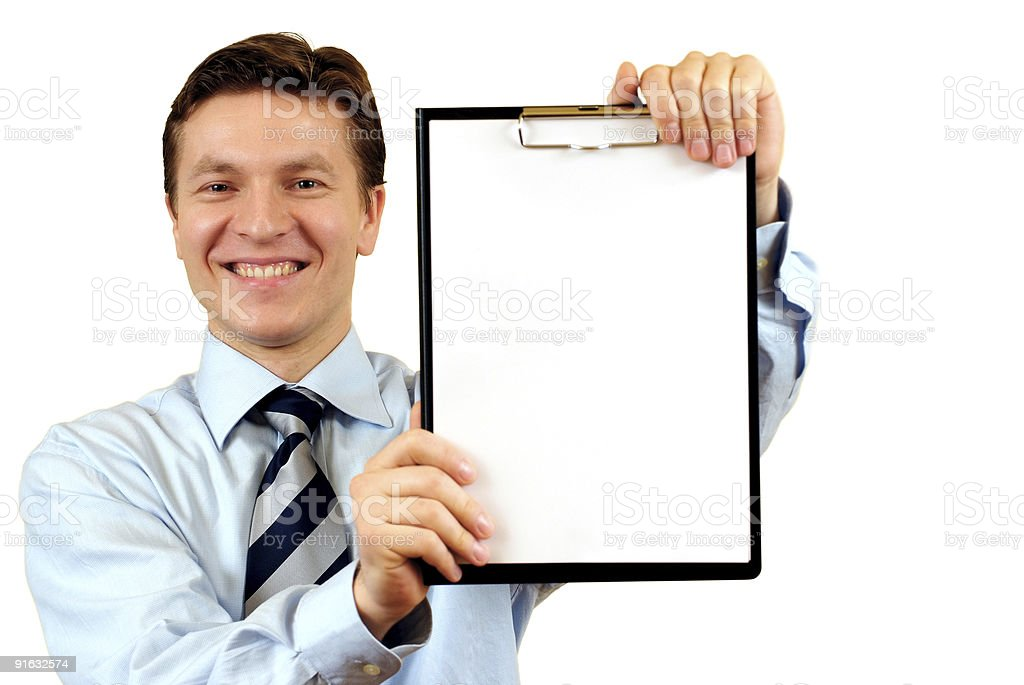 Young businessman with clipboard royalty-free stock photo