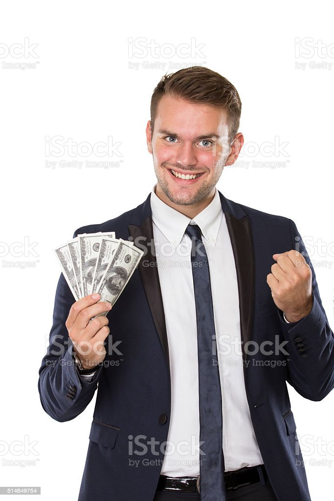 Young businessman with dollar on his hands stock photo