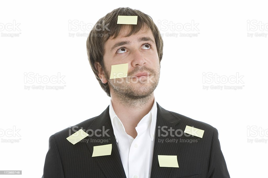 Young businessman with empty adhesive notes royalty-free stock photo