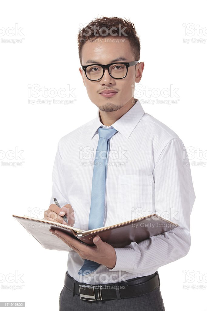 Young Businessman with Folio on White royalty-free stock photo