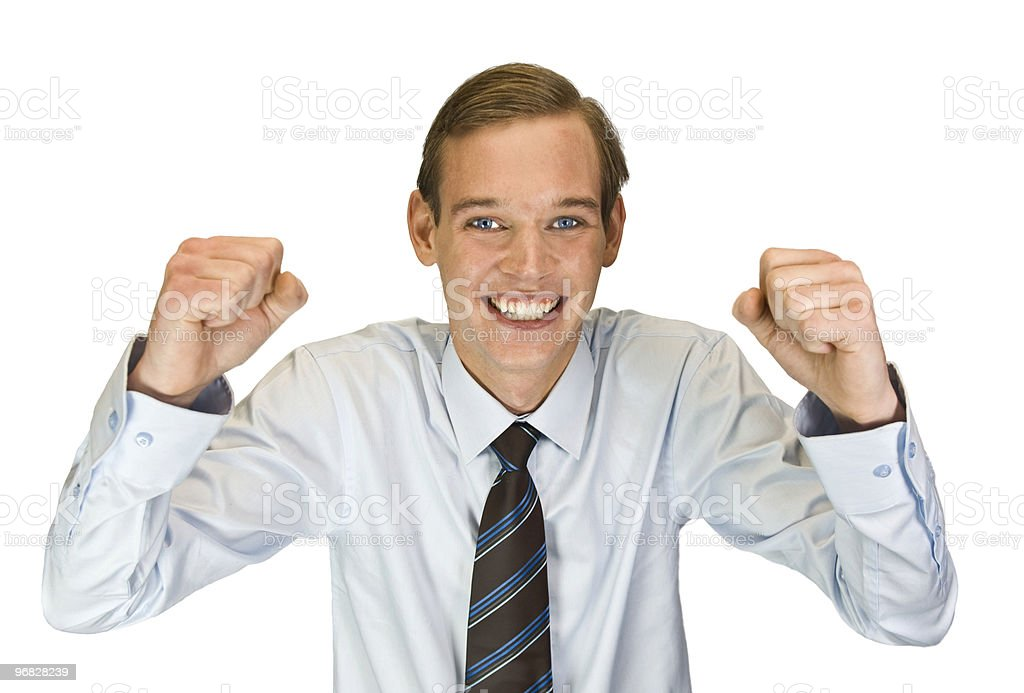 young businessman with his arms Raised royalty-free stock photo