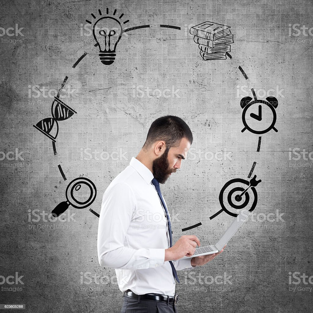 Young businessman with Infographic icons stock photo