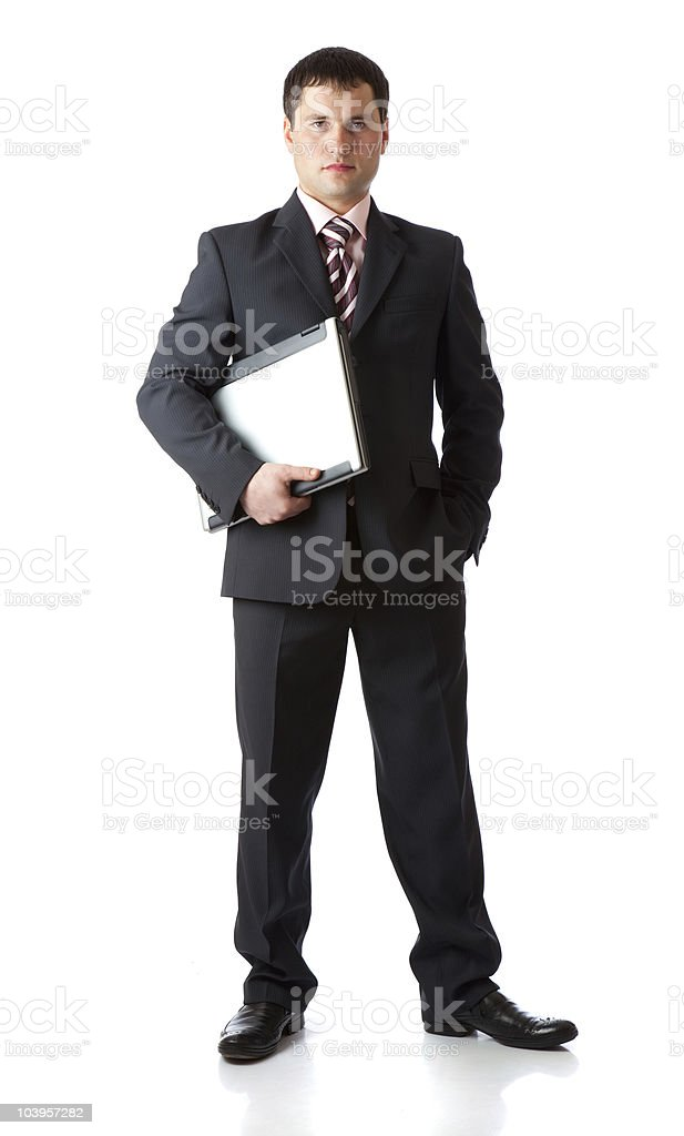 Young businessman with laptop stock photo