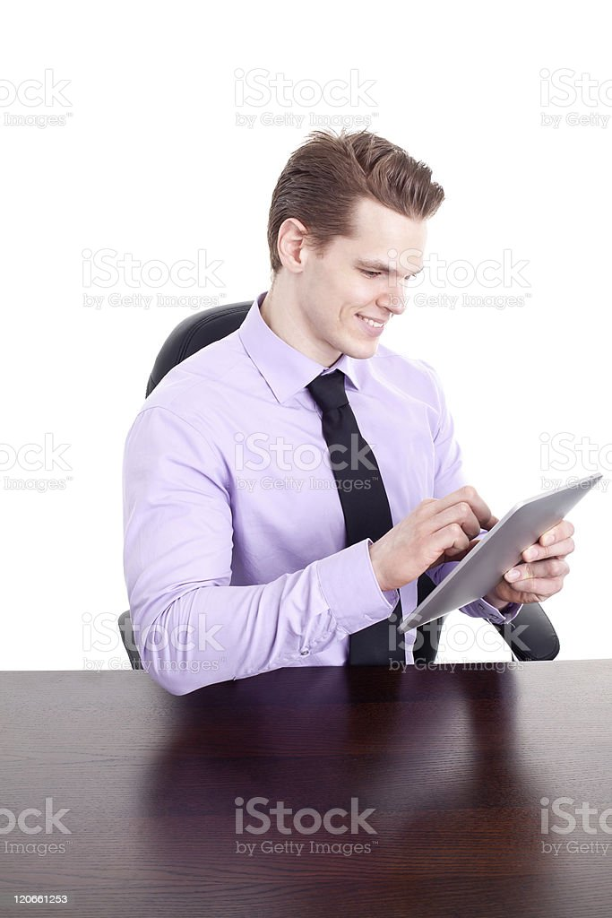 Young businessman with modern touchpad, isolated on white royalty-free stock photo