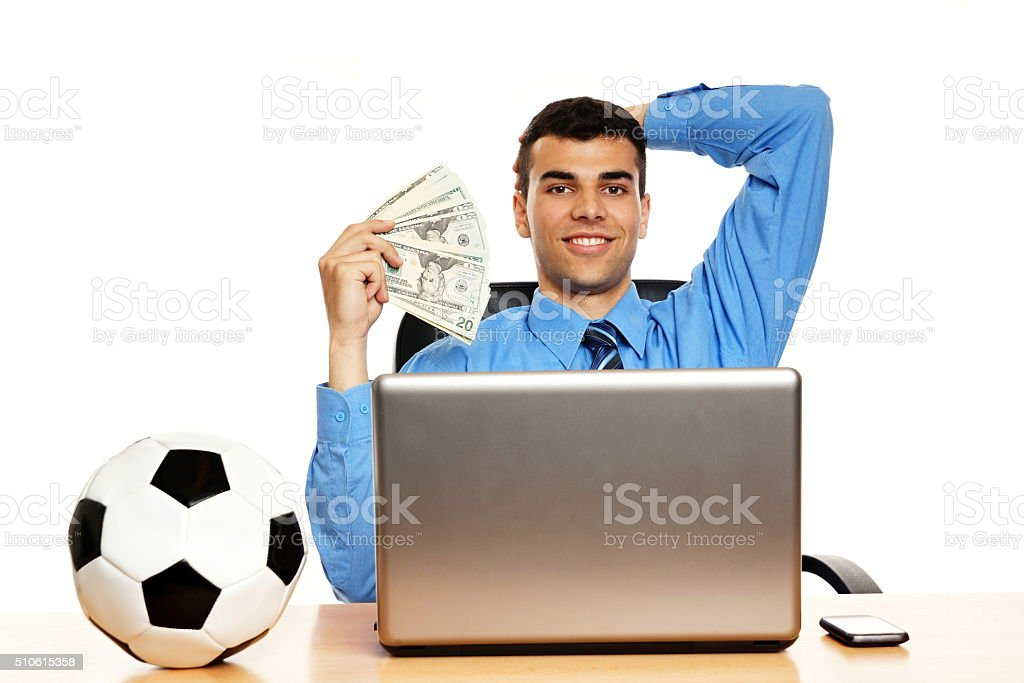 Young businessman with money stock photo