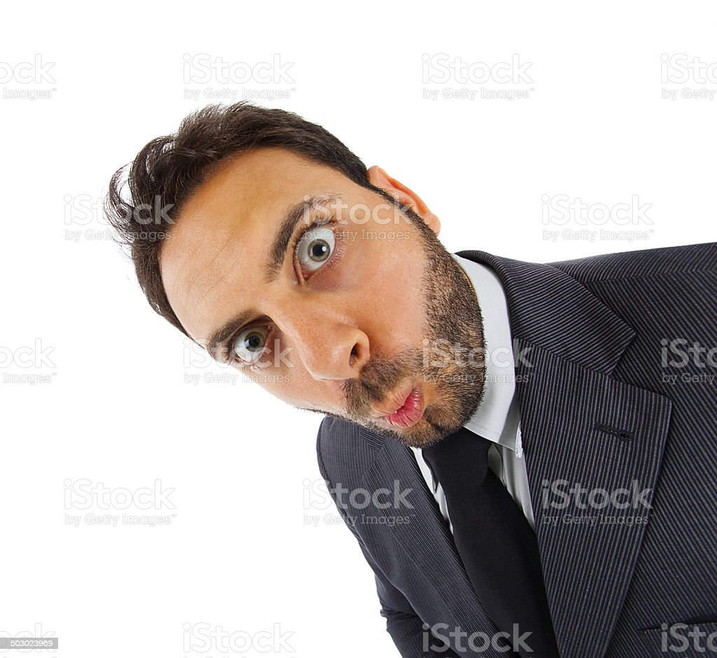 Young businessman with surprise expression stock photo