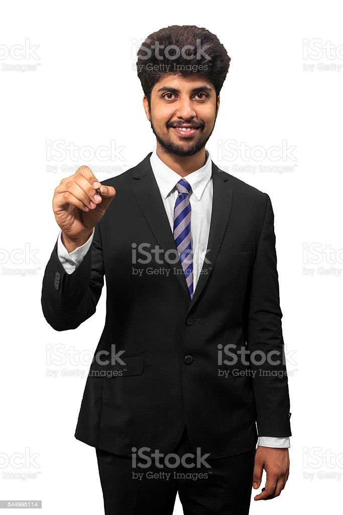 Young Businessmen Pointing stock photo