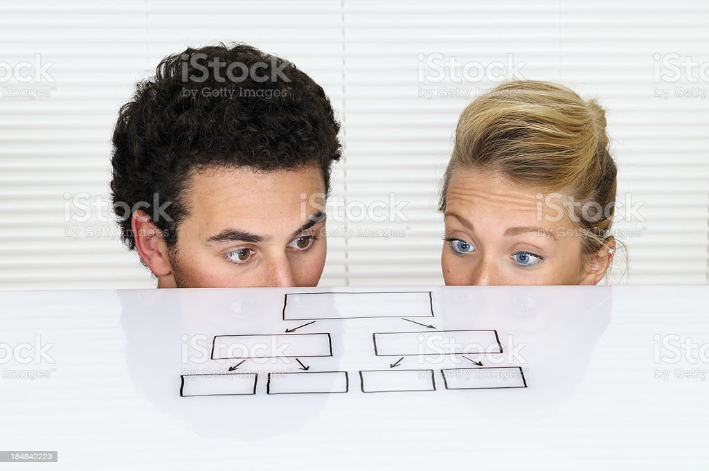 Young Businesspersons Looking At Organization Chart royalty-free stock photo