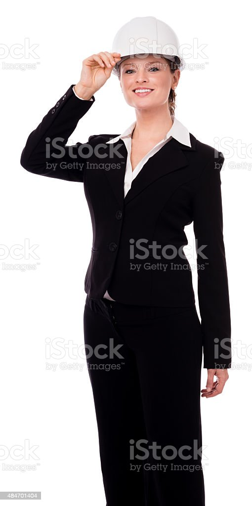 Young Businesswoman Architect Industry Supervisor on White stock photo