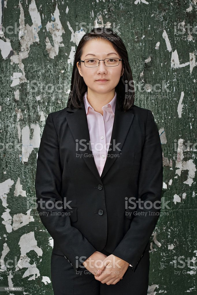 Young businesswoman at attention royalty-free stock photo