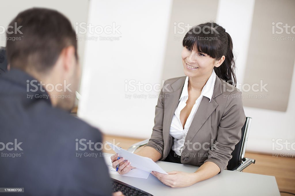 Young businesswoman at the interview royalty-free stock photo