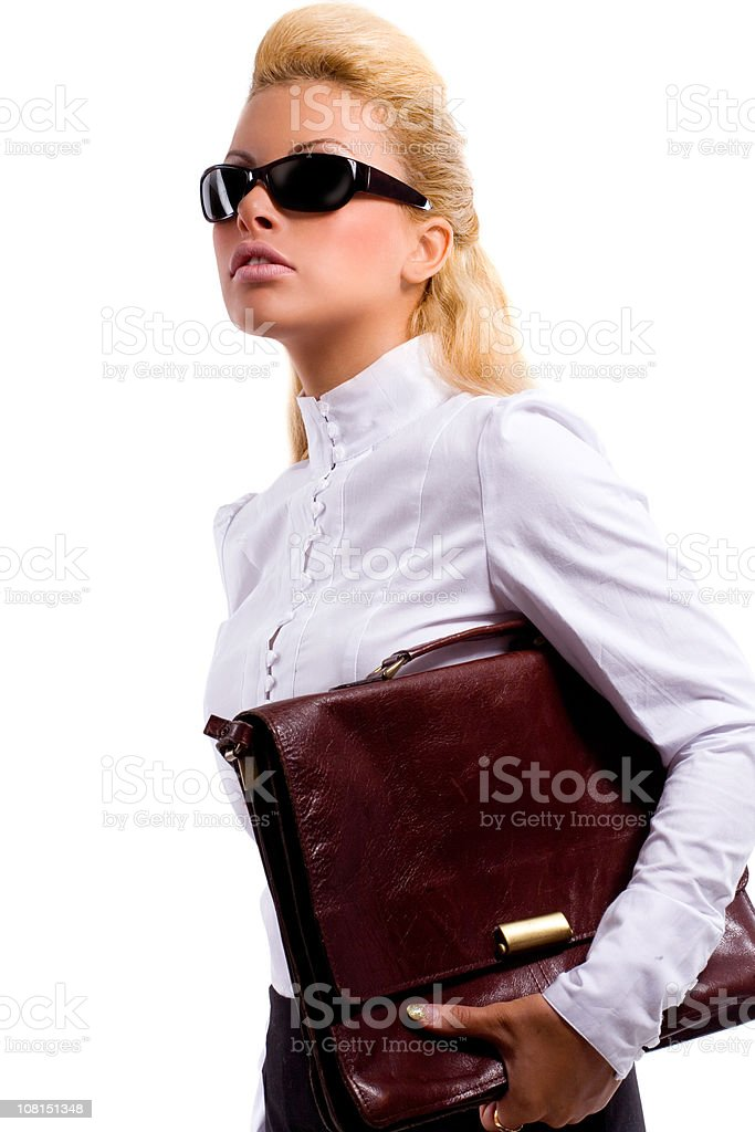 Young Businesswoman Carrying Briefcase royalty-free stock photo