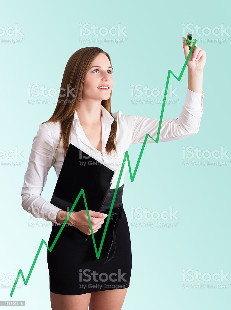 Young Businesswoman drawing a chart royalty-free stock photo