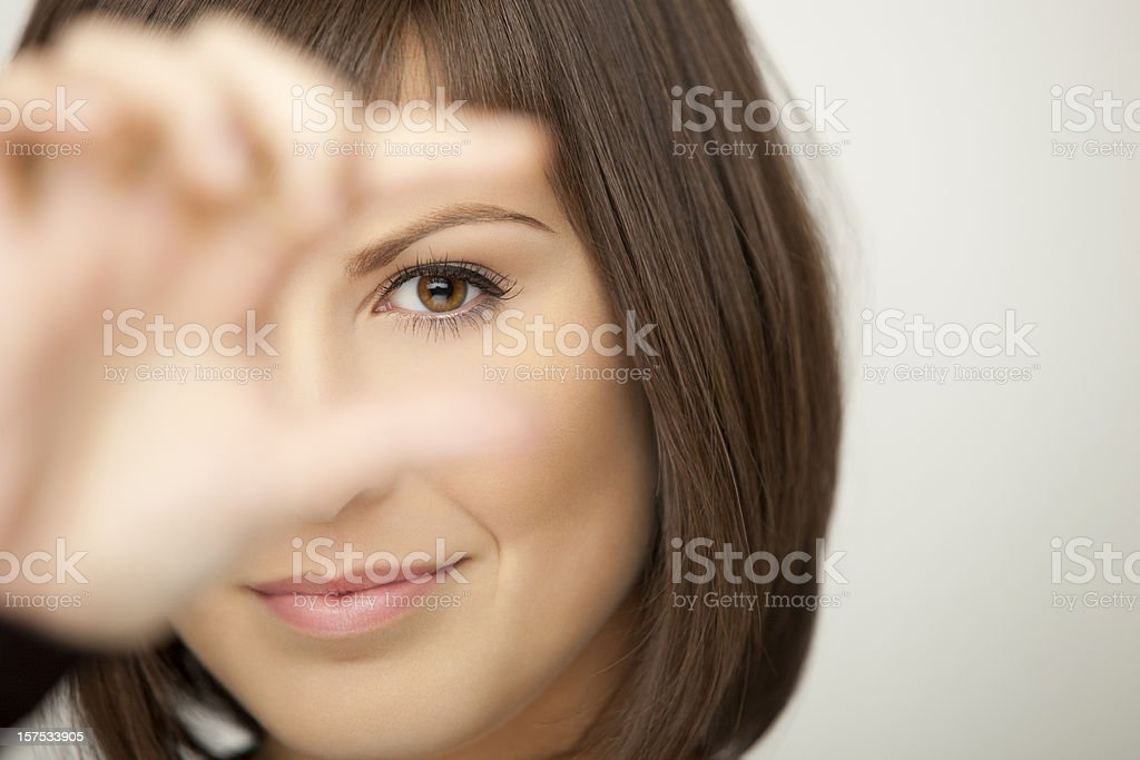 Young Businesswoman Focusing stock photo