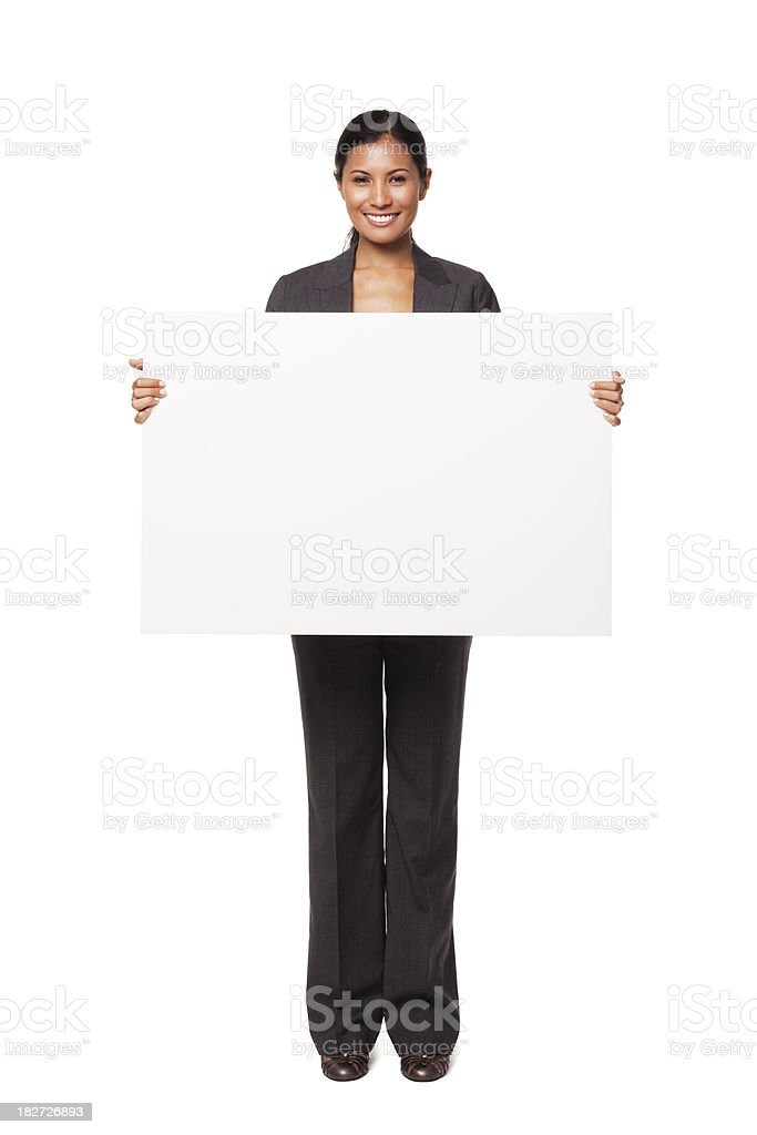 Young Businesswoman Holding Blank Sign. Isolated. stock photo