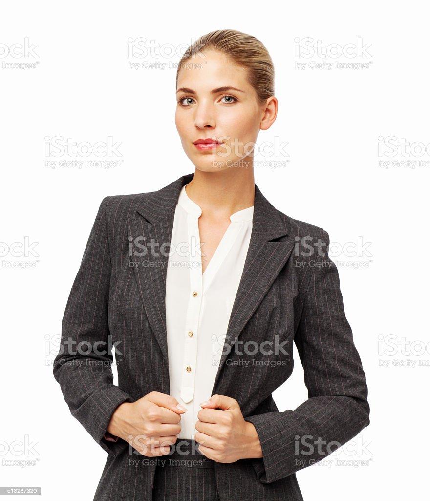 Young Businesswoman Holding Blazer stock photo