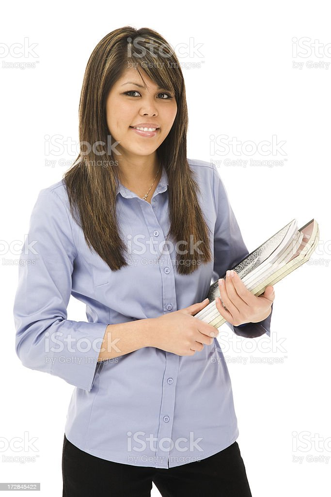 Young Businesswoman Holding Documents royalty-free stock photo