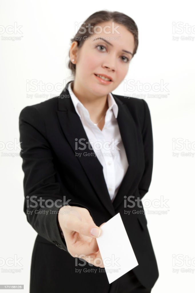 Young businesswoman holding white business card royalty-free stock photo