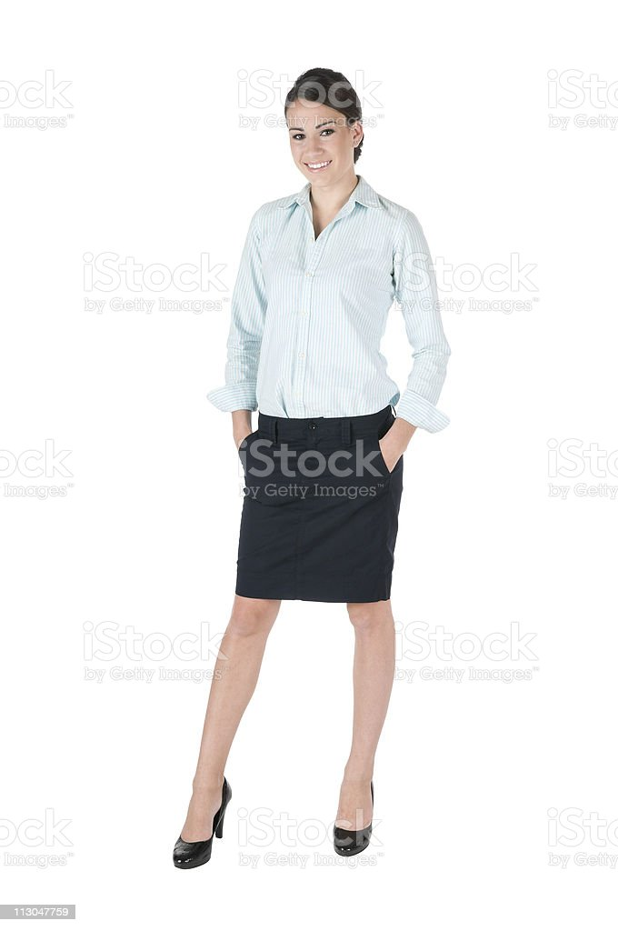 Young businesswoman, isolated on white royalty-free stock photo