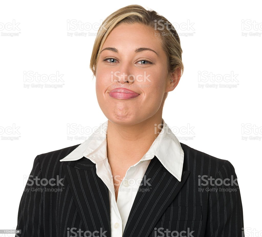 Young Businesswoman Makes Funny Face royalty-free stock photo
