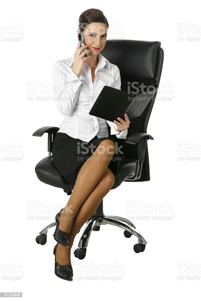 young businesswoman on clear white background royalty-free stock photo