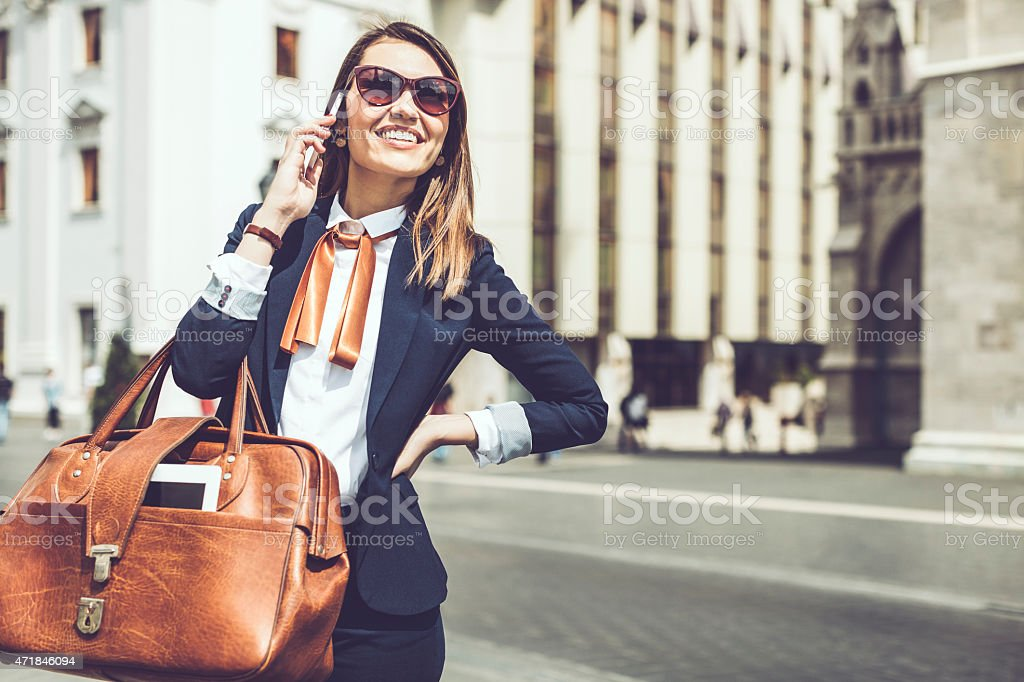 Young businesswoman on the phone stock photo